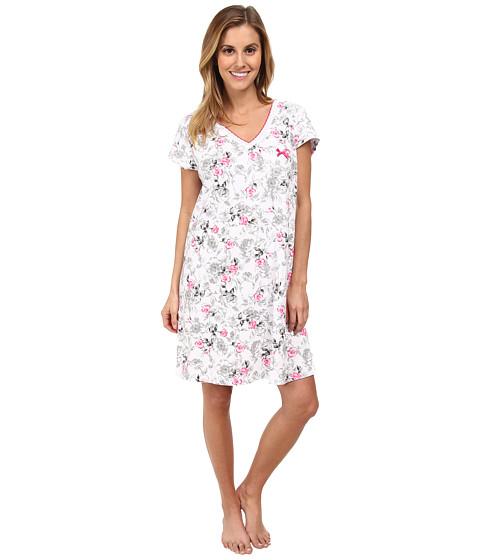 Karen Neuburger - White Hot Short Sleeve Pullover Nightshirt (Floral/Black) Women's Pajama