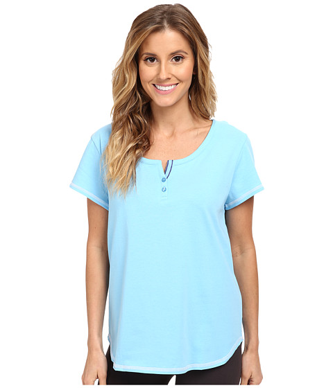 Karen Neuburger - Tuileries Short Sleeve Henley Top (Solid/Bay Blue) Women's Pajama