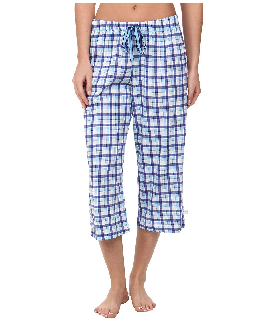 Karen Neuburger - Tuileries Plaid Crop Pants (Bay Blue) Women's Pajama