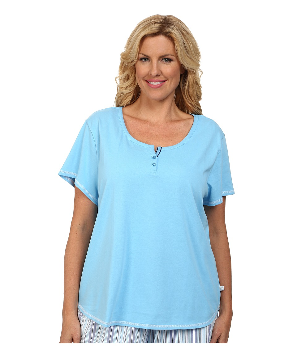 Karen Neuburger - Plus Size Tuileries Short Sleeve Henley Top (Solid/Bay Blue) Women's Pajama