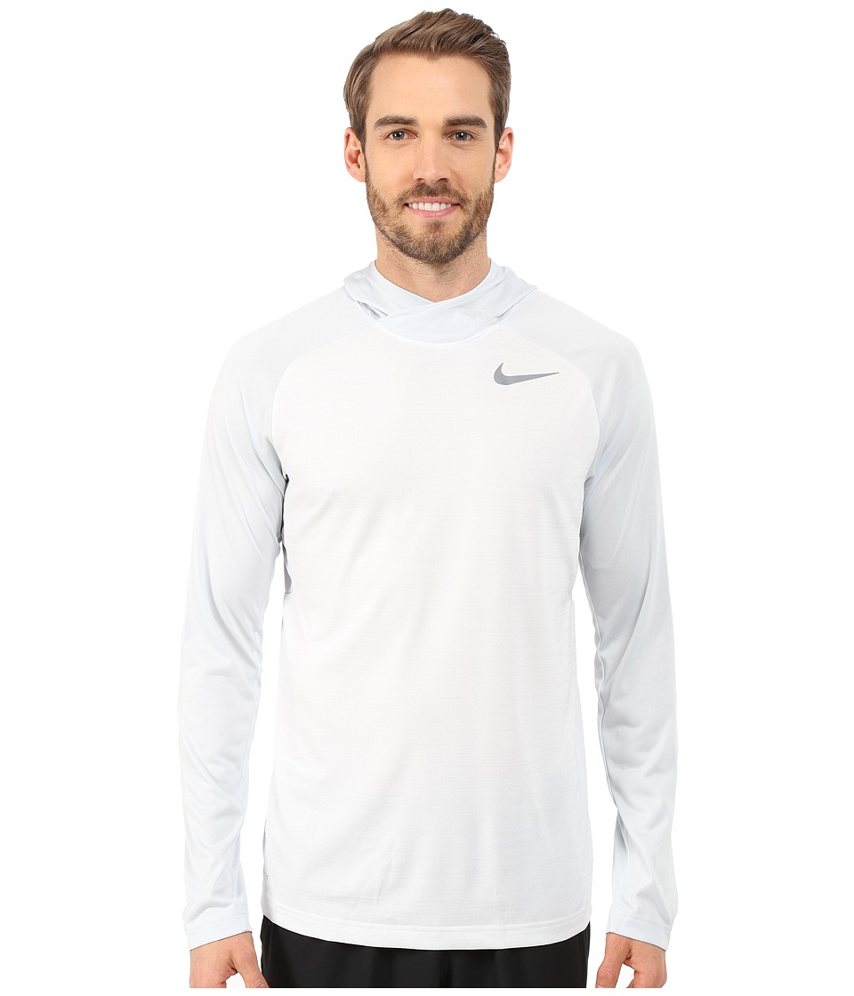 Nike - Dri-Fit Touch Long Sleeve Hoodie (White/Pure Platinum/Cool Grey) Men's Sweatshirt