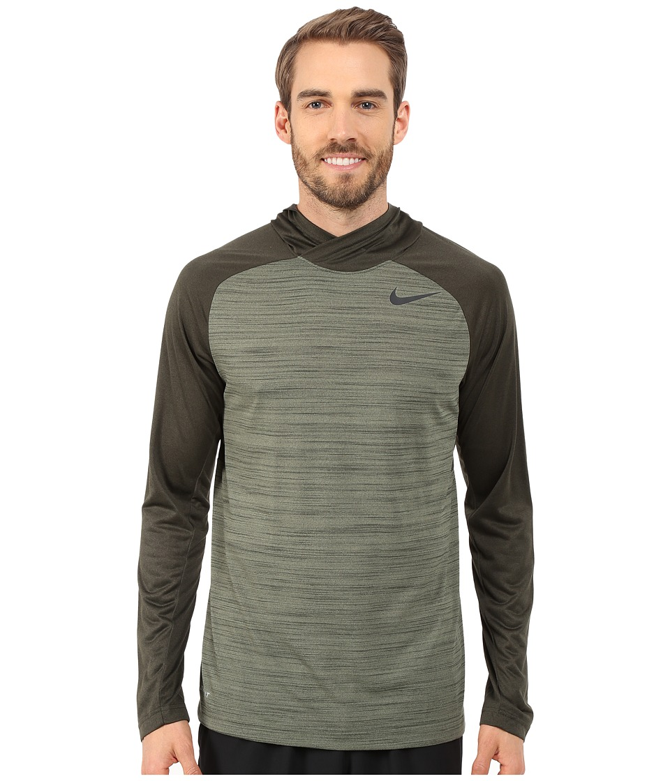 Nike - Dri-Fit Touch Long Sleeve Hoodie (Medium Olive/Sequoia/Black) Men's Sweatshirt