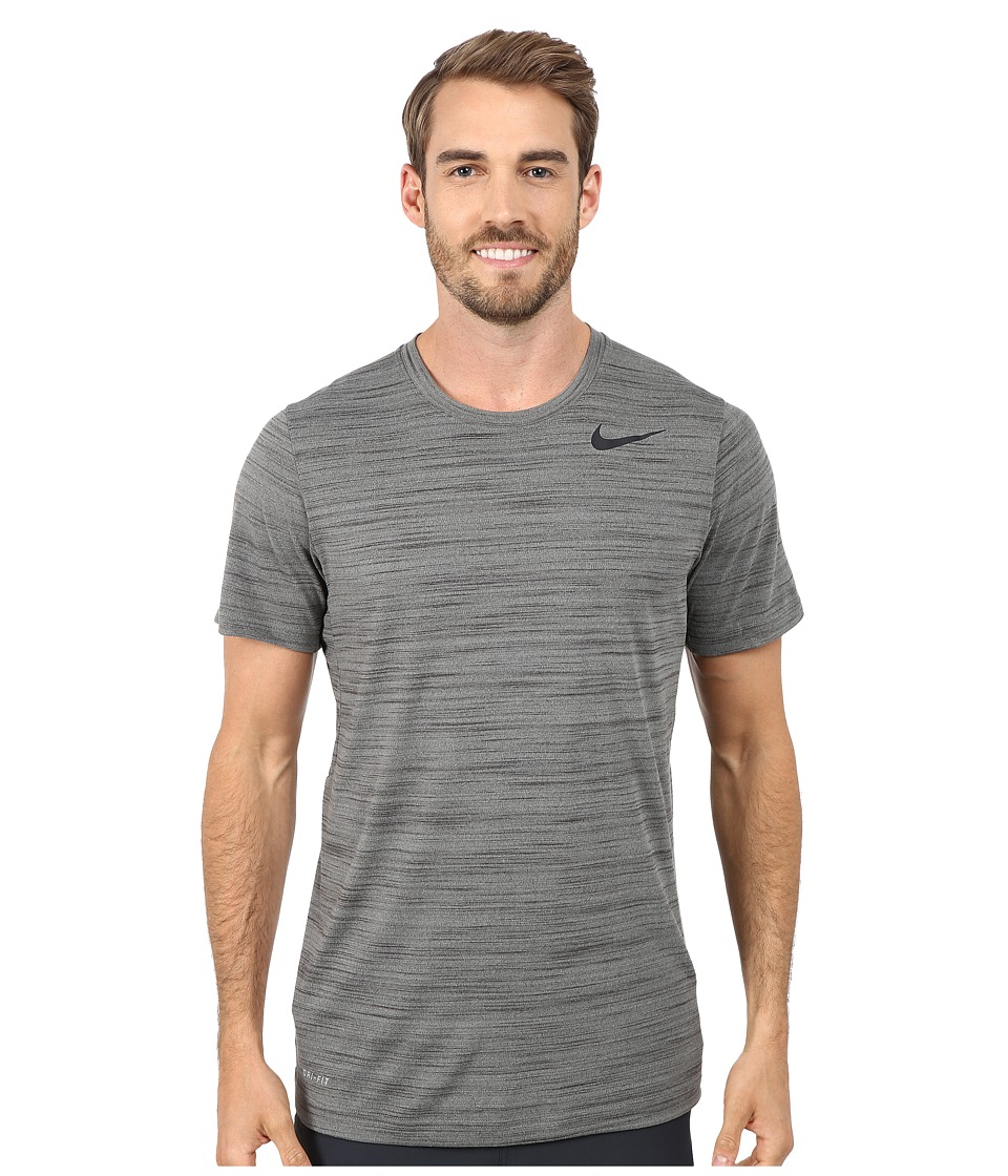 Nike - Dri-FIT Touch S/S Heathered (Tumbled Grey/Deep Pewter/Heather/Black) Men's T Shirt