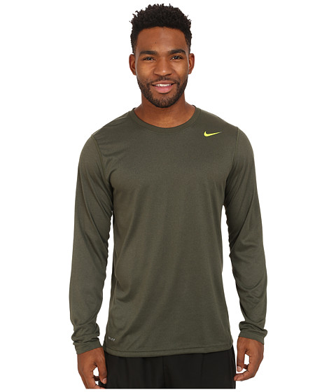 Nike - Legend Dri-FIT Poly L/S Crew Top (Cargo Khaki/Carbon Heather/Volt) Men's Workout