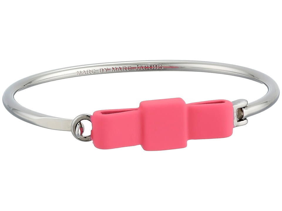 Marc by Marc Jacobs - Ribberized Medium Bow Tie Hinge Cuff Bracelet (Bright Rose/Argento) Bracelet