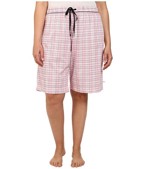 Karen Neuburger - Plus Size Cherie Bermuda Plaid Shorts (Frosty Coral) Women