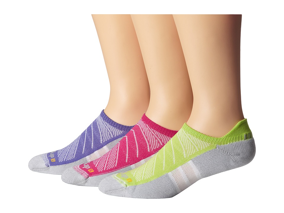 Drymax Sport - Max Cushion Run-Packaged No Show Tab 3-Pair Pack (October Pink/Lime/Lilac) No Show Socks Shoes