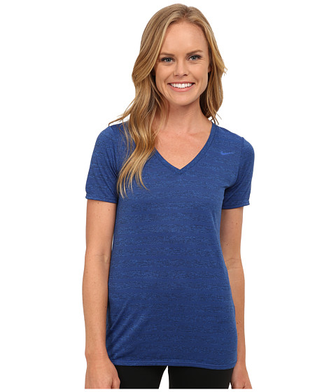 Nike - V-Neck Legend Short Sleeve Veneer Tee (Game Royal/Black/Game Royal) Women
