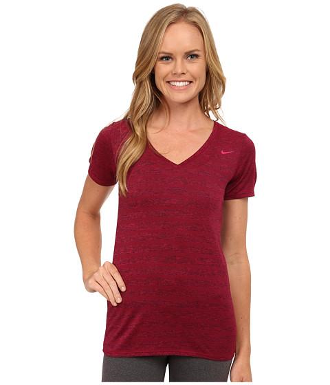 Nike - V-Neck Legend Short Sleeve Veneer Tee (Sport Fuchsia/Black/Sport Fuchsia) Women's T Shirt