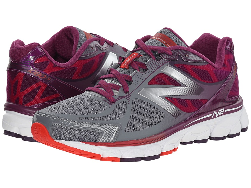 New Balance - W1080v5 (Grey/Purple) Women's Running Shoes