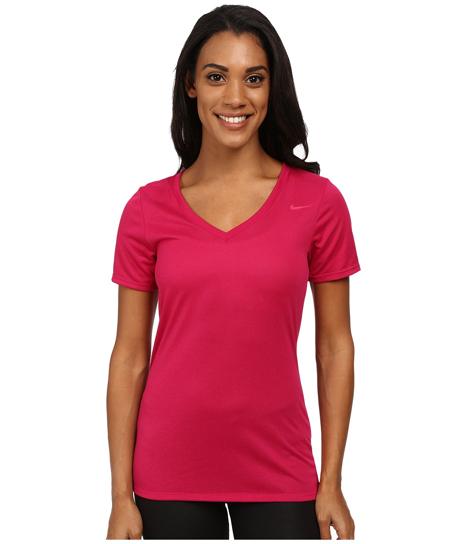 Nike - V-Neck Legend Short-Sleeve Tee 2.0 (Sport Fuchsia/Sport Fuchsia) Women's T Shirt