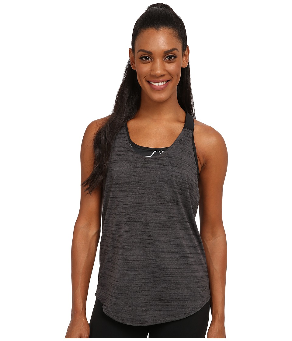 Nike Dri-FITtm Elastika Heathered Tank Top (Anthracite/Black/Black) Women