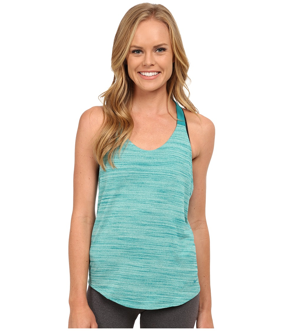 Nike - Dri-FIT Elastika Heathered Tank Top (Green Glow/Radiant Emerald/ Radiant Emerald) Women's Sleeveless