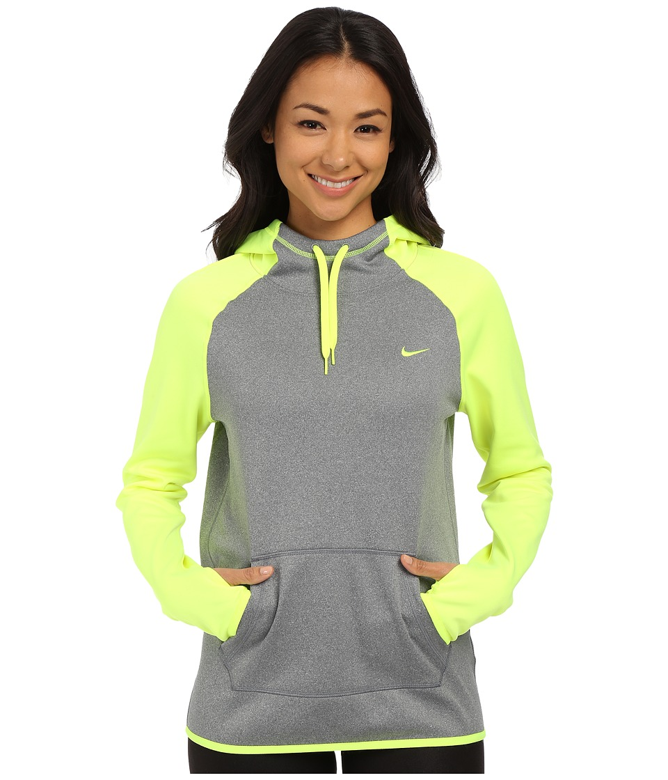 Nike - All Time Pullover Hoodie (Dark Grey Heather/Volt/Volt) Women's Long Sleeve Pullover
