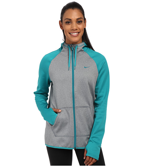 Nike - All Time Full Zip Hoodie (Dark Grey Heather/Radiant Emerald/Radiant Emerald) Women
