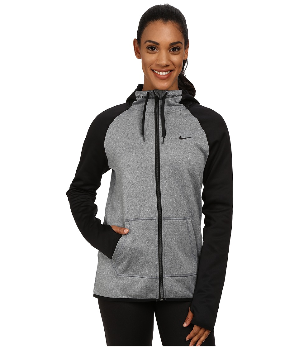 Nike - All Time Full Zip Hoodie (Dark Grey Heather/Black/Black) Women's Sweatshirt