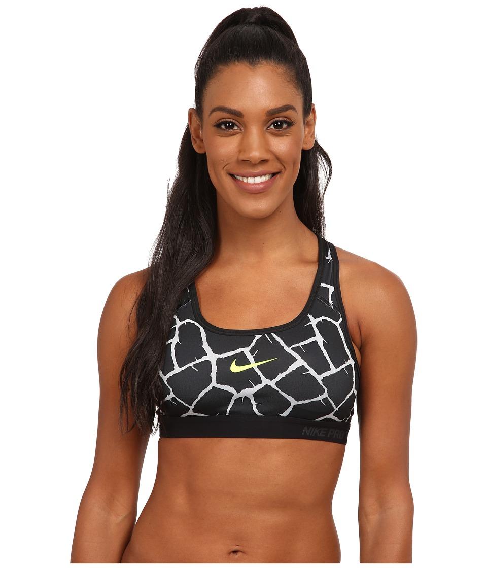 Nike - Dri-FIT Pro Classic Padded Giraffe Bra (Wolf Grey/Black/Black/Volt) Women's Bra