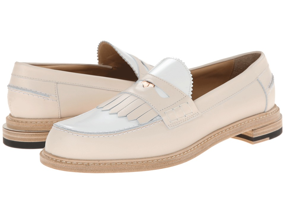 Band of Outsiders - Slipped Heel Penny Loafer w/ Fringe (Nude/White) Women's Slip on Shoes
