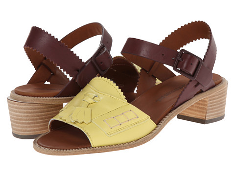 Band of Outsiders - Mid Heel Loafer Front Sandal (Flax/Mahogany) Women's Sandals