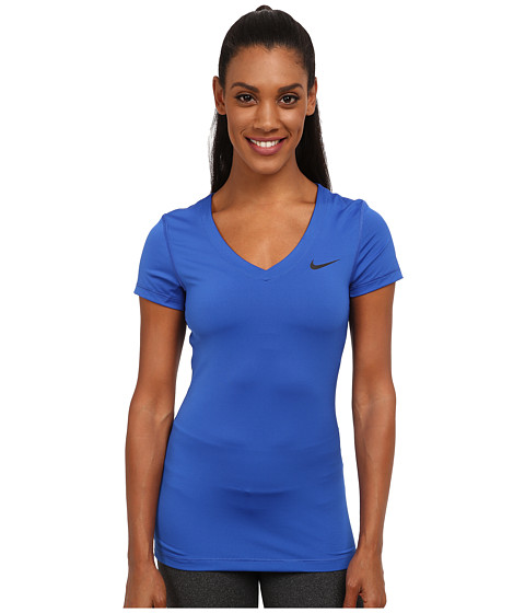 Nike - Pro S/S V-Neck Top (Game Royal/Black) Women's T Shirt