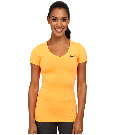 Nike - Pro S/S V-Neck Top (Bright Citrus/Black) Women's T Shirt