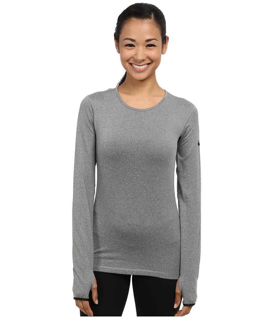 Nike - Pro Hyperwarm Crew 3.0 (Carbon Heather/Black/Black) Women's Long Sleeve Pullover