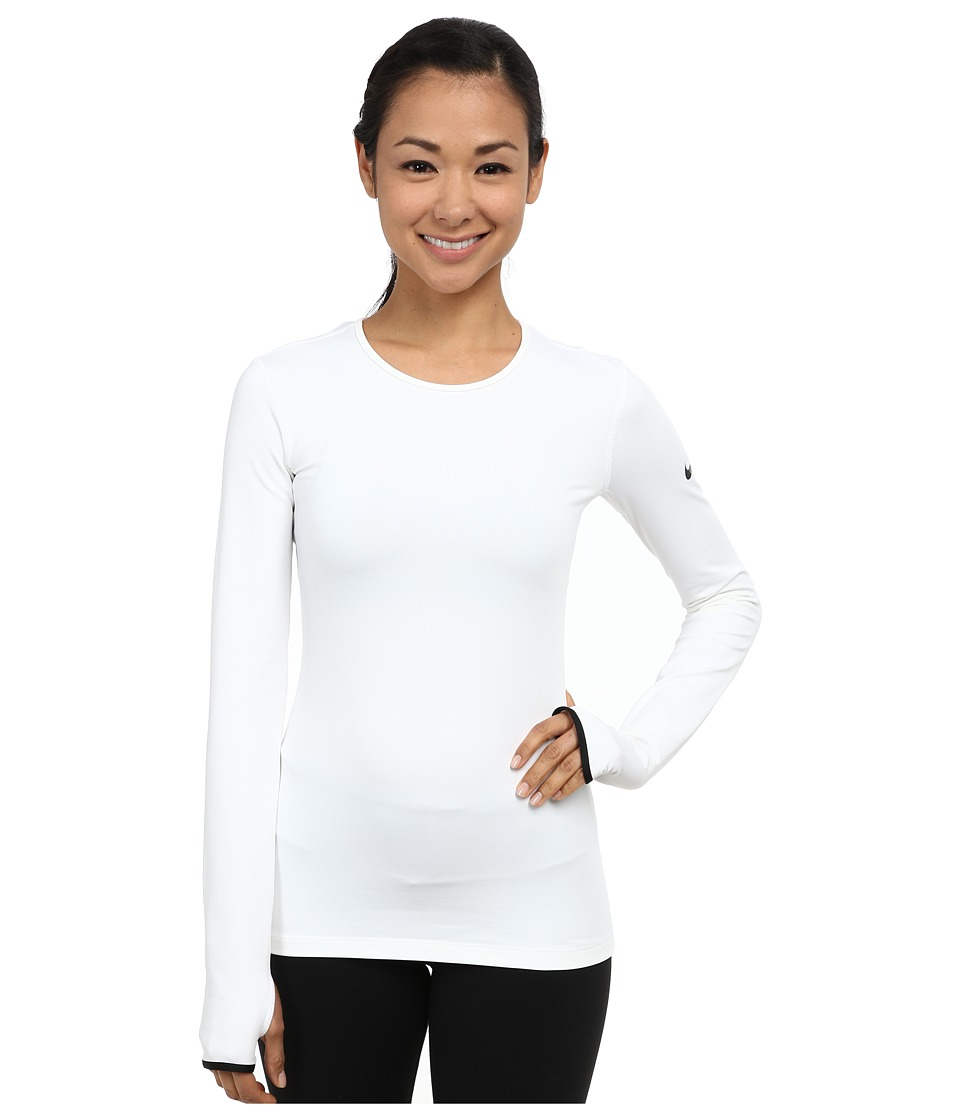 Nike - Pro Hyperwarm Crew 3.0 (White/Black/Black) Women's Long Sleeve Pullover