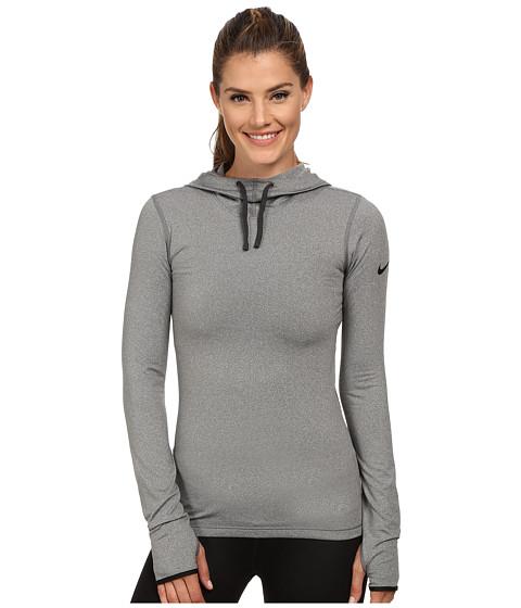 Nike - Pro Hyperwarm Hoodie (Carbon Heather/Black) Women
