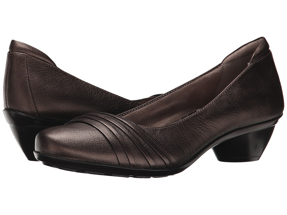 Naturalizer - Halona (Dark Brown Bronze Metallic Leather) Women's Slip-on Dress Shoes