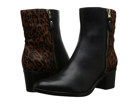 Naturalizer - Harding (Black Leather/Leopard Pony Hair) Women's Dress Zip Boots