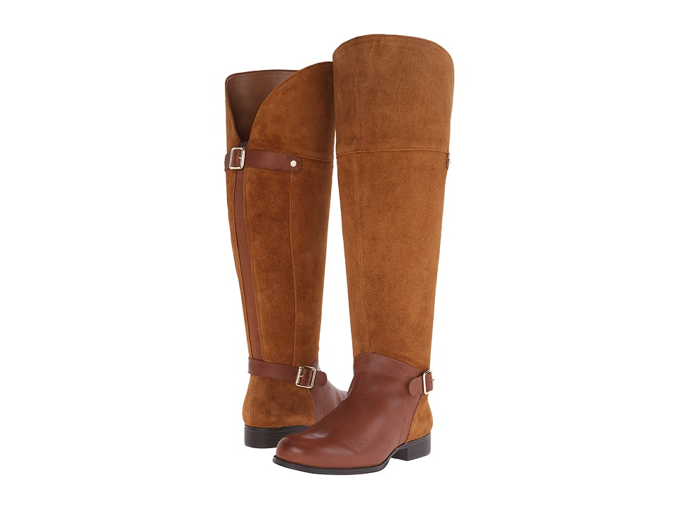 Naturalizer - July Wide Calf (Dark Camel Suede/Banana Bread Leather) Women's Wide Shaft Boots