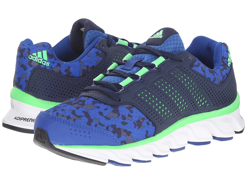 adidas Kids Powerblaze K (Little Kid/Big Kid) (Collegiate Navy/Collegiate Royal/Flash Green) Boys Shoes