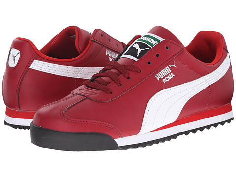 Puma Kids - Roma Basic Jr (Little Kid/Big Kid) (Rio Red/White/Puma Silver) Girls Shoes