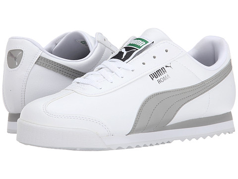 Puma Kids - Roma Basic Jr (Little Kid/Big Kid) (White/Drizzle/Puma Silver) Girls Shoes