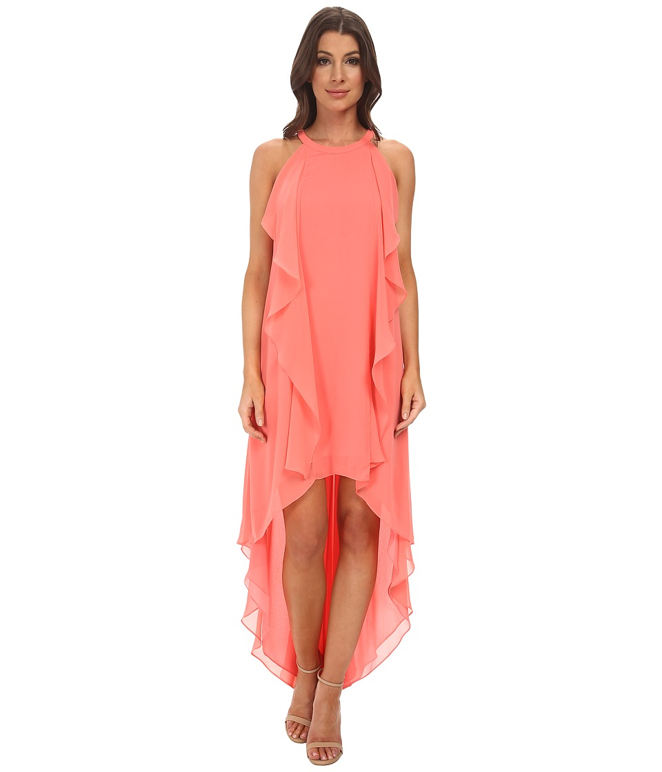 BCBGMAXAZRIA - Kelsia Cascade Ruffle Halter Dress (Pink Coral) Women's Dress