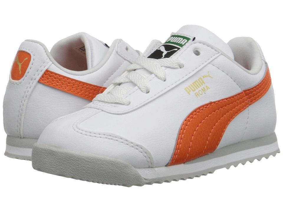 Puma Kids - Roma Basic Kids (Toddler/Little Kid/Big Kid) (White/Vermillion Orange) Boys Shoes