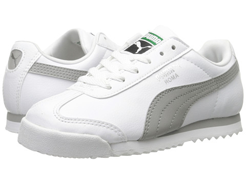 Puma Kids - Roma Basic Kids (Toddler/Little Kid/Big Kid) (White/Drizzle/Puma Silver) Boys Shoes