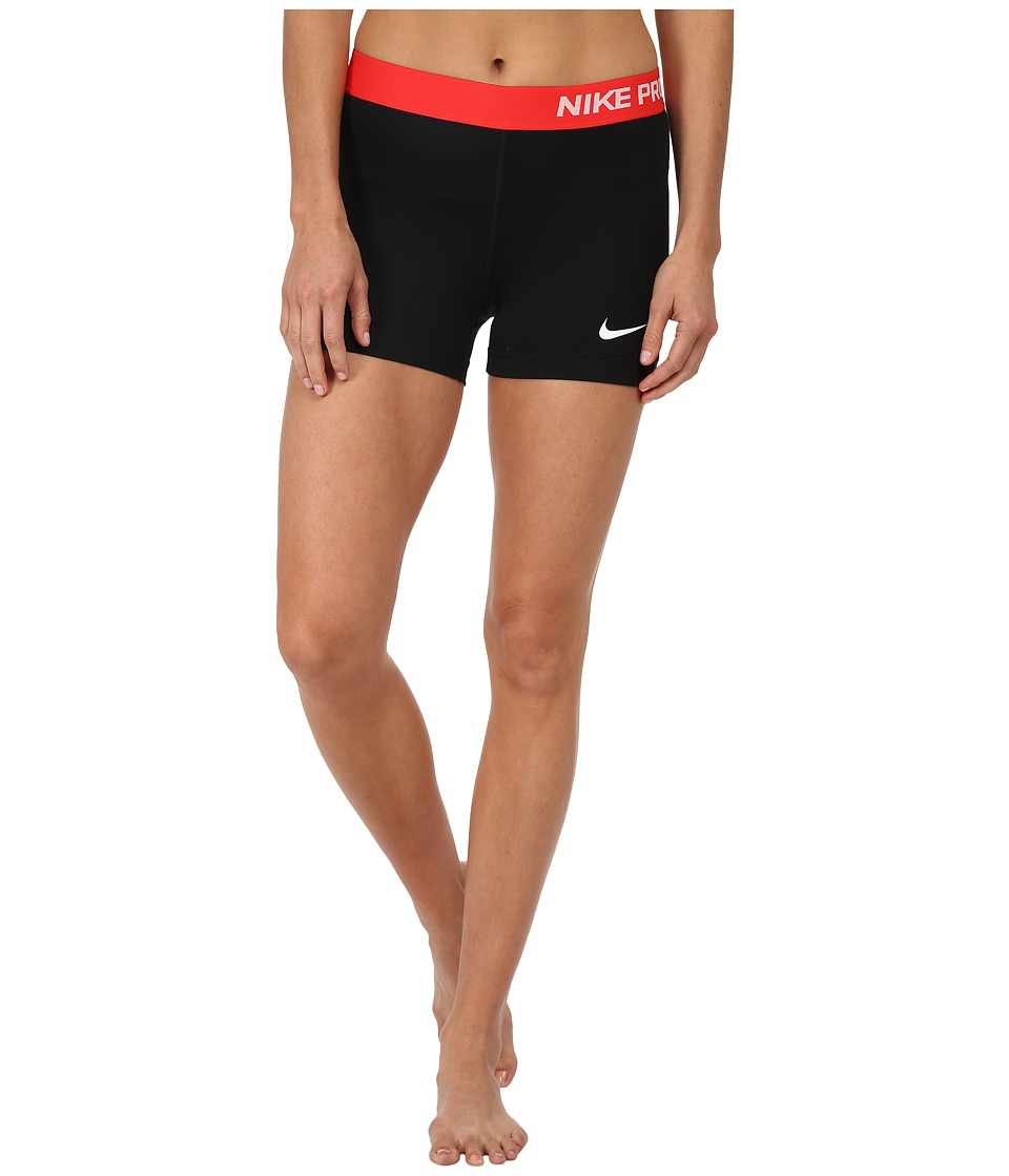 Nike - Pro Three-Inch Short (Black/Light Crimson/White) Women