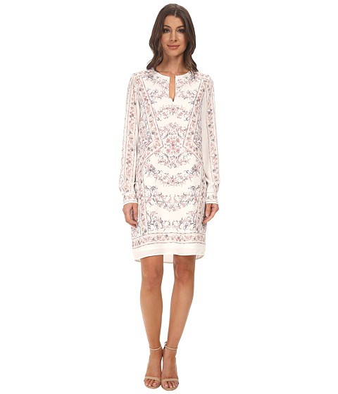 BCBGMAXAZRIA - Freya Long Sleeve Scarf Print Tunic Dress (Gardenia Combo) Women's Dress