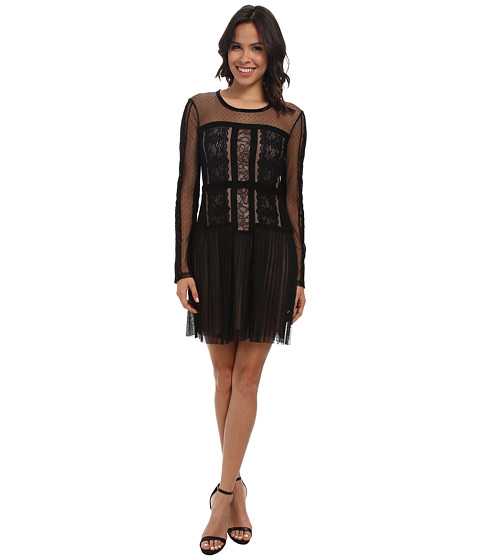 BCBGMAXAZRIA - Stef Lace Blocked Long Sleeve Dress (Black) Women's Dress