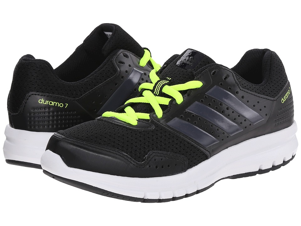 adidas Kids - Duramo 7 K (Little Kid/Big Kid) (Black/Dark Grey/Solar Yellow) Boys Shoes