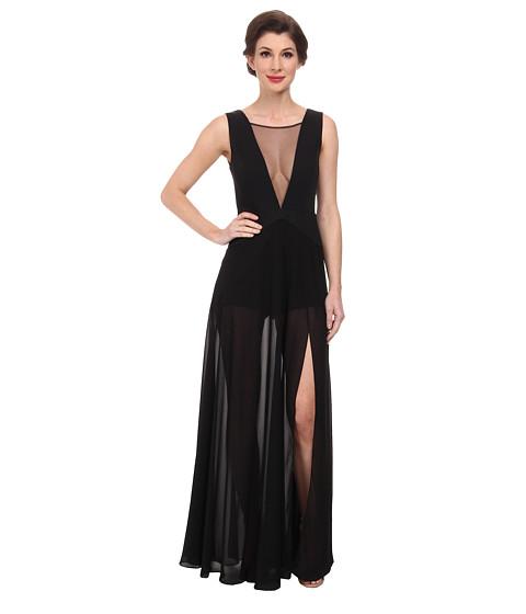 BCBGMAXAZRIA - Halee Deep V-Neck Romper w/ Chiffon Skirt (Black) Women