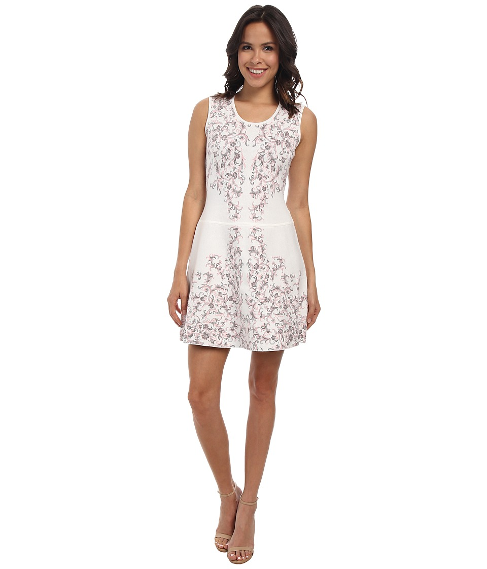BCBGMAXAZRIA - Wilma Embroidered Floral Garden Jacquard Dress (Gardenia Combo) Women's Dress