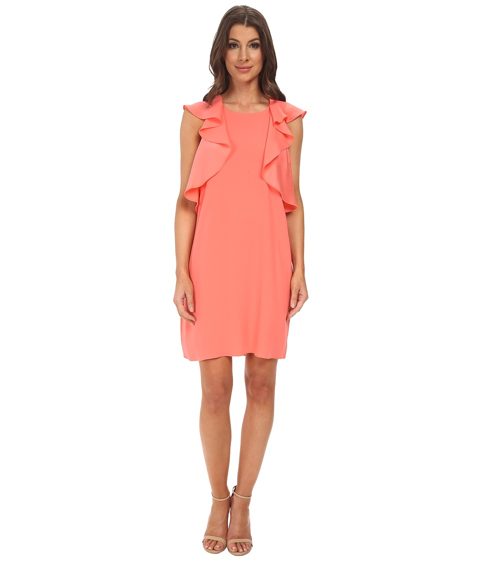 BCBGMAXAZRIA - Jenni Ruffle Shoulder Racer Back Dress (Pink Coral) Women's Dress