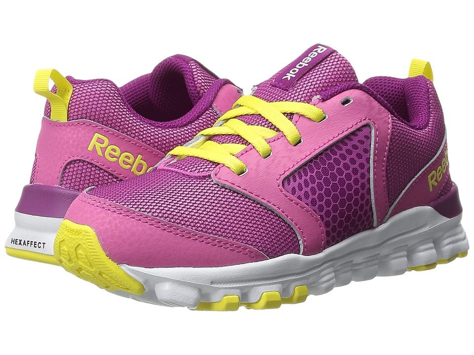 Reebok Kids - Hexaffect Run 2.0 Wild (Little Kid) (Charged Pink/Fierce Fuchsia/Stinger Yellow) Girls Shoes