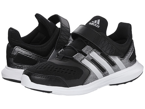 adidas Kids - Hyperfast 2.0 EL K (Little Kid/Big Kid) (Black/Silver Metallic/White) Boys Shoes