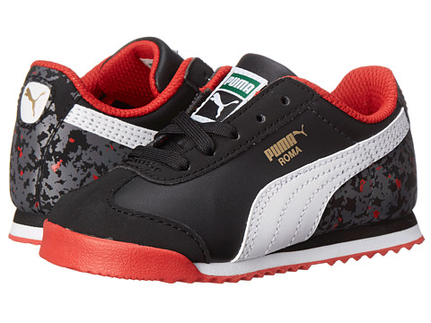 Puma Kids - Roma Basic MP Camo (Toddler/Little Kid/Big Kid) (Black/White/High Risk Red) Boys Shoes