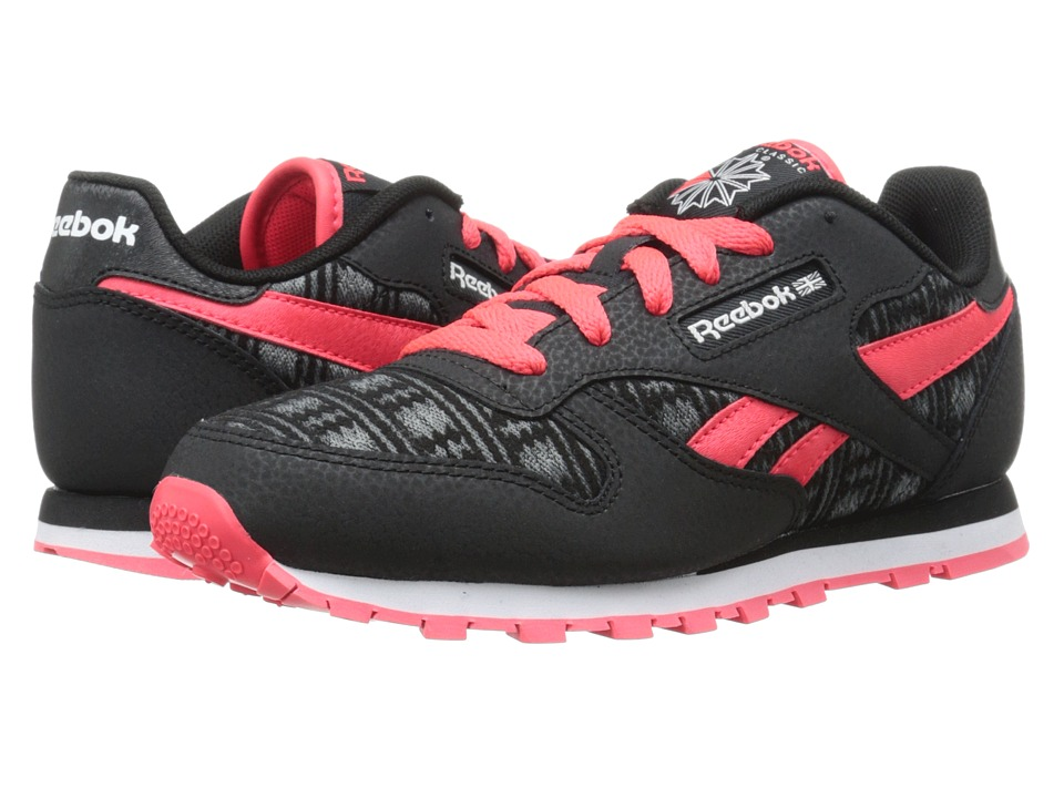 Reebok Kids - Classic Leather Tribal Twist (Big Kid) (Black/Neon Cherry/Medium Grey/Flat Grey/White) Girls Shoes