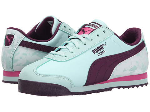 Puma Kids - Roma Basic MP Floral (Little Kid/Big Kid) (Fair Aqua/Italian Plum/Carmine Rose) Girls Shoes