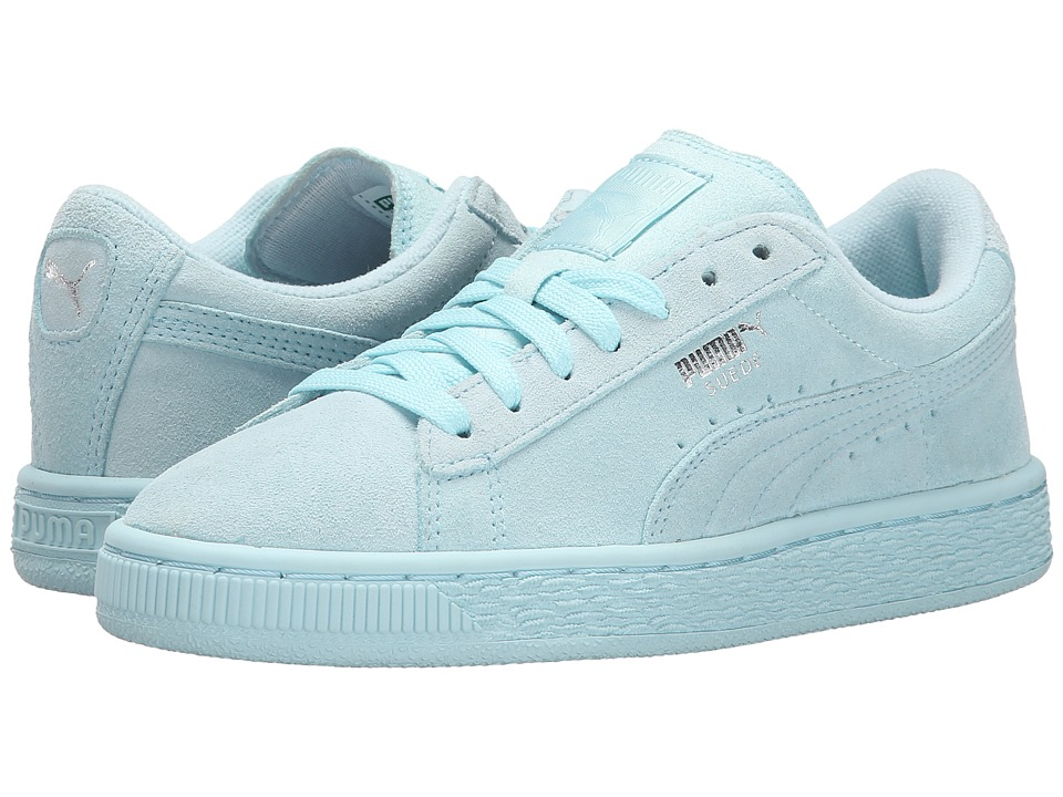Puma Kids - Suede Jr (Little Kid/Big Kid) (Clearwater/Puma Silver) Girl's Shoes